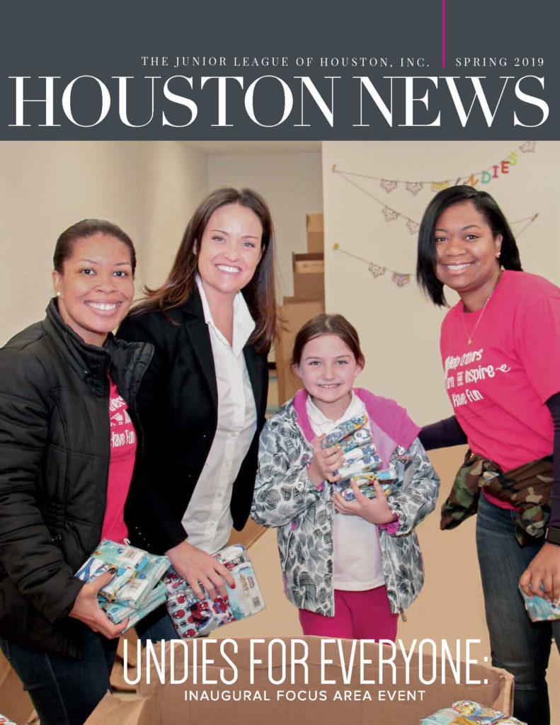 Cover of Spring 2019 Houston News featuring three JLH members and a child volunteering at Undies for Everyone
